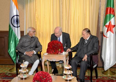 H.E. Mr. M.Hamid Ansari, Vice President of India, calling on H.E.President of People's Democratic Republic of Algeria, Mr. Abdelaziz Bouteflika on 19 October 2016