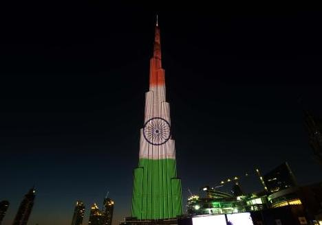 Burj Khalifa in Dubai, United Arab Emirates illuminated in Indian tricolor