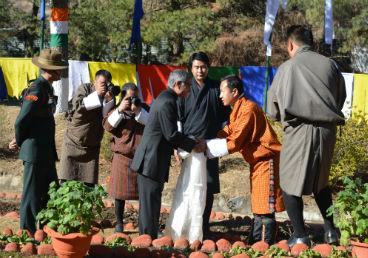 Representative of His Majesty the King of Bhutan offers Khadar (Ceremonial Scarf) to Ambassador on the occasion of Republic Day 2017