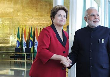 President Dilma Rousseff receiving Prime Minister Narendra Modi at her residence Alvorada Palace
