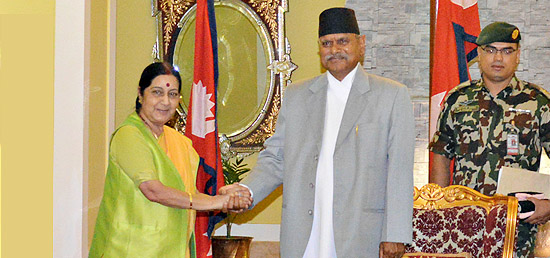 External Affairs Minister calls on President Dr Ram Baran Yadav of Nepal during her visit to Kathmandu