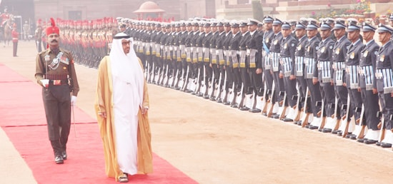 Sheikh Mohammed Bin Zayed Al Nahyan, Crown Prince of Abu Dhabi inspects Guard of Honour during Ceremonial Reception at Rashtrapati Bhawan