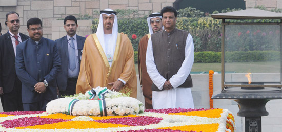 Sheikh Mohammed Bin Zayed Al Nahyan, Crown Prince of Abu Dhabi pays homage and lays wreath at the memorial of Mahatma Gandhi