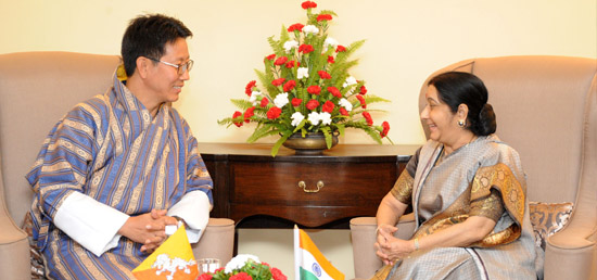 External Affairs Minister holds bilateral meeting with Damcho Dorji, Foreign Minister of Bhutan on the sidelines of 15th BIMSTEC Ministerial Meeting in Kathmandu