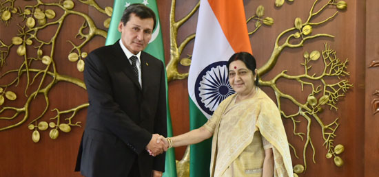 External Affairs Minister meets Rashid O. Meredov, Deputy Prime Minister and Minister of Foreign Affairs of Turkmenistan in New Delhi