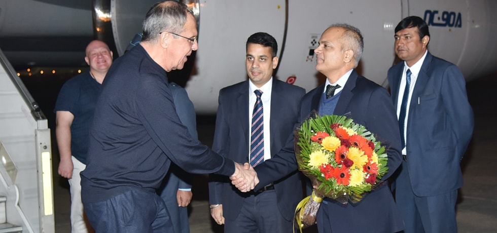 Sergey V. Lavrov, Minister of Foreign Affairs of Russia arrives in New Delhi