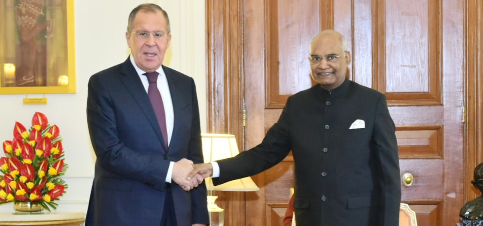 Sergey V. Lavrov, Minister of Foreign Affairs of Russia calls on President at Rashtrapati Bhavan in New Delhi