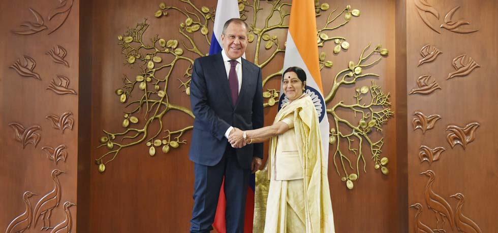 External Affairs Minister meets Sergey V. Lavrov, Minister of Foreign Affairs of Russia in New Delhi