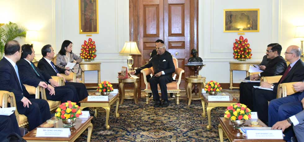 Wang Yi, Minister of Foreign Affairs of China calls on President at Rashtrapati Bhavan in New Delhi