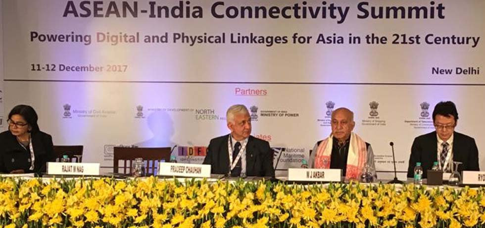 M J Akbar, Minister of State for External Affairs attends the INDIA-ASEAN Connectivity Summit in New Delhi