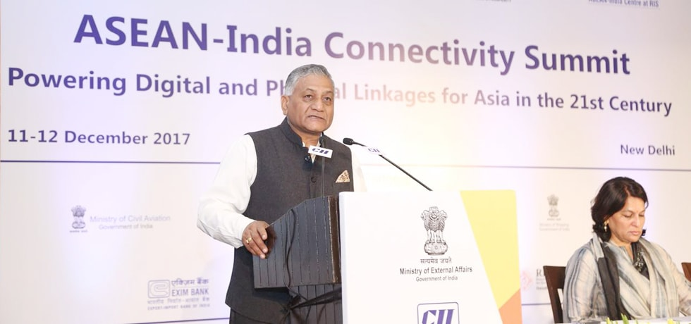 Gen. (Dr.) V.K. Singh (Retd), Minister of State for External Affairs delivers his Address at the INDIA-ASEAN Connectivity Summit in New Delhi