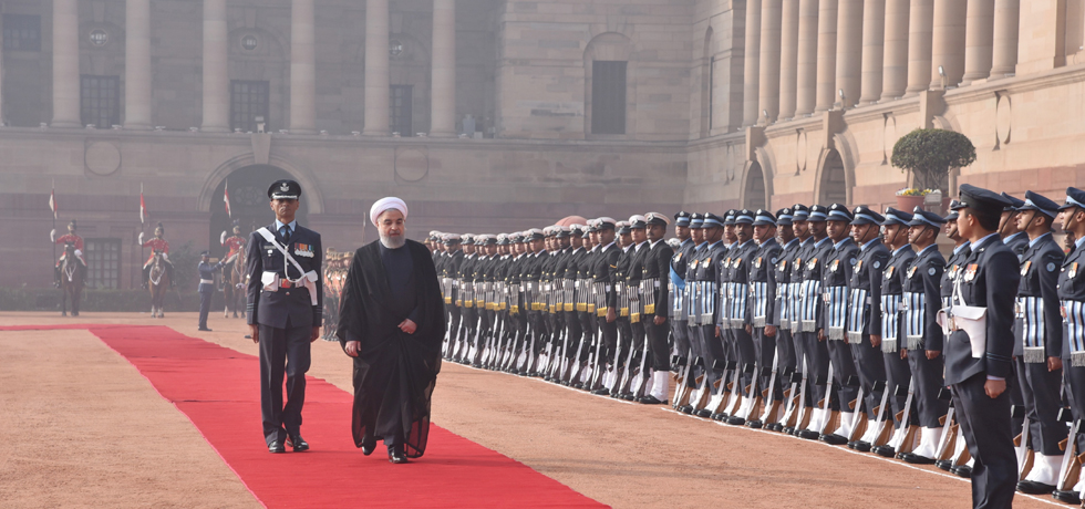 Dr. Hassan Rouhani, President of the Islamic Republic of Iran inspects Guard of Honour during his ceremonial reception at Rashtrapati Bhawan