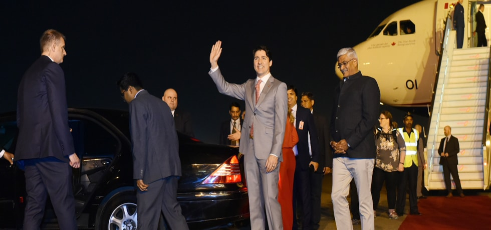 Justin Trudeau, Prime Minister of Canada arrives in New Delhi on State visit to India