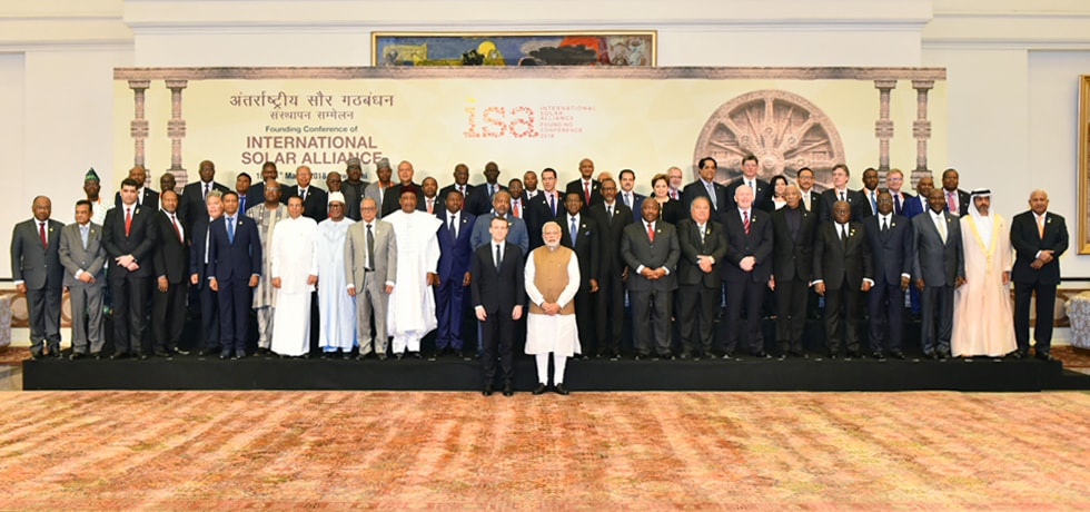 Group Photograph of participating leaders and high representatives on the occasion of the Founding Conference of International Solar Alliance
