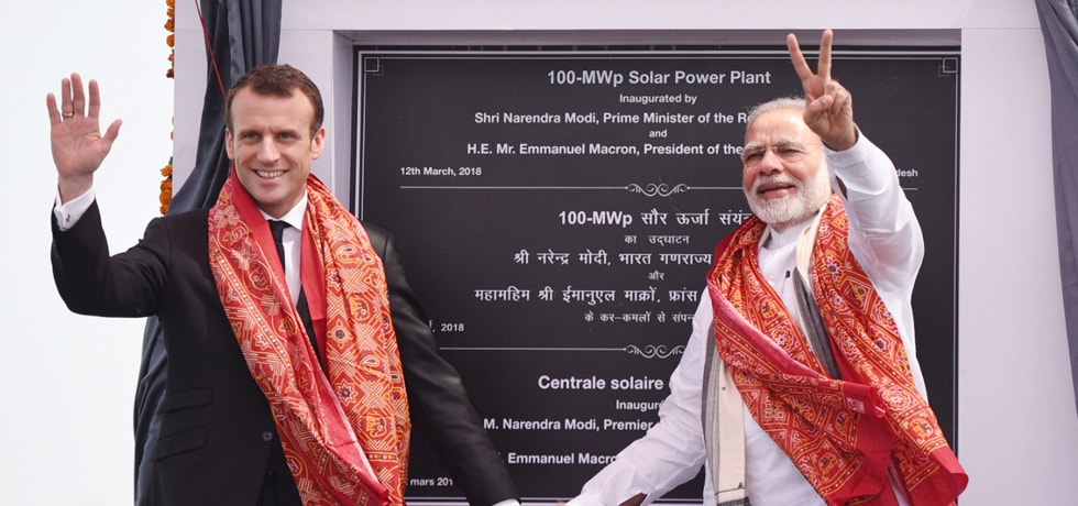 Prime Minister and Emmanuel Macron, President of French Republic inaugurate 100 MWp Solar Power Plant in Mirzapur