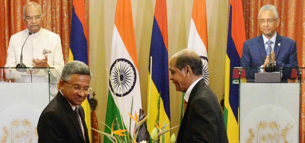 President and Pravind Kumar Jugnauth, Prime Minister of the Republic of Mauritius witness Exchange of Agreements / MoUs on various subjects at National Assembly, Mauritius