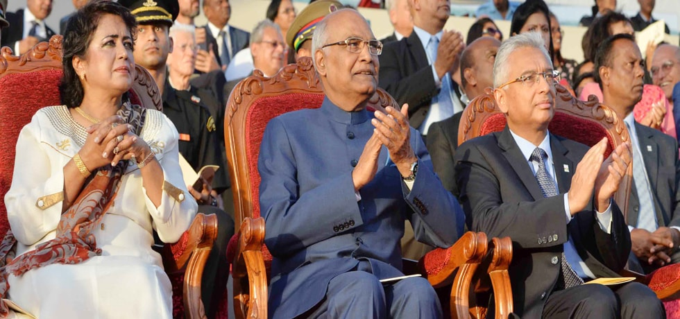 President attends Celebration of National Day of Mauritius at Champ de Mars during his 4-day State Visit to Mauritius