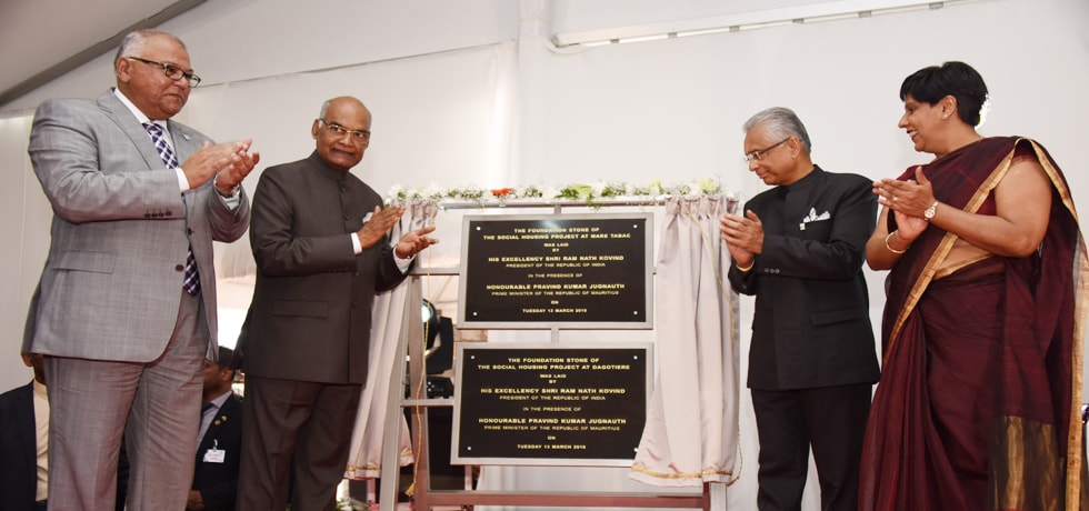 President and Pravind Kumar Jugnauth, Prime Minister of Mauritius unveil Foundation Stone of Social Housing Project in Mauritius