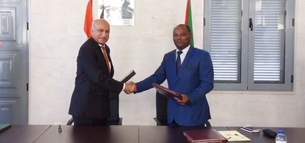 M J Akbar, MoS for External Affairs and Urbino Botelho, Minister of Foreign Affairs of Sao Tome and Principe exchange agreements during first ever Ministerial level visit to Sao Tome and Principe