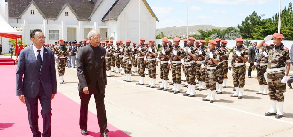 President inspects guard of honour during his ceremonial reception at Presidential Lavoloha Palace in Antananarivo