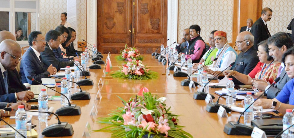President and Hery Rajaonarimampianina, President of Madagascar hold delegation level talks at Presidential Palace in Madagascar