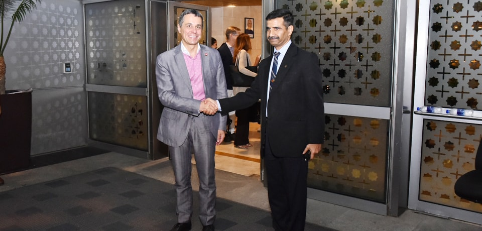 Dr. Ignazio Cassis, Federal Councillor and Head of Federal Department of Foreign Affairs of Switzerland arrives in New Delhi