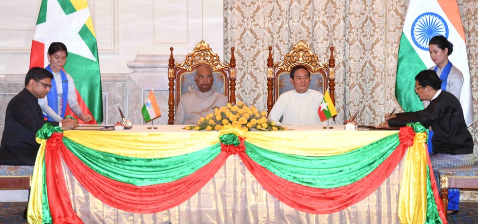 President and U Win Myint, President of Myanmar witness Signing of Agreements at Presidential Palace in Nay Pyi Taw