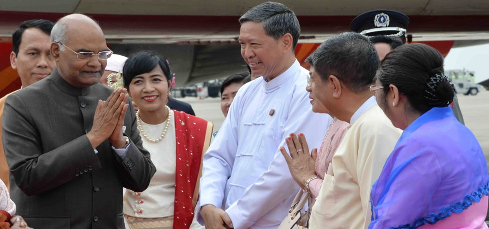 President arrives in Yangon on Second Leg of his State Visit to Myanmar