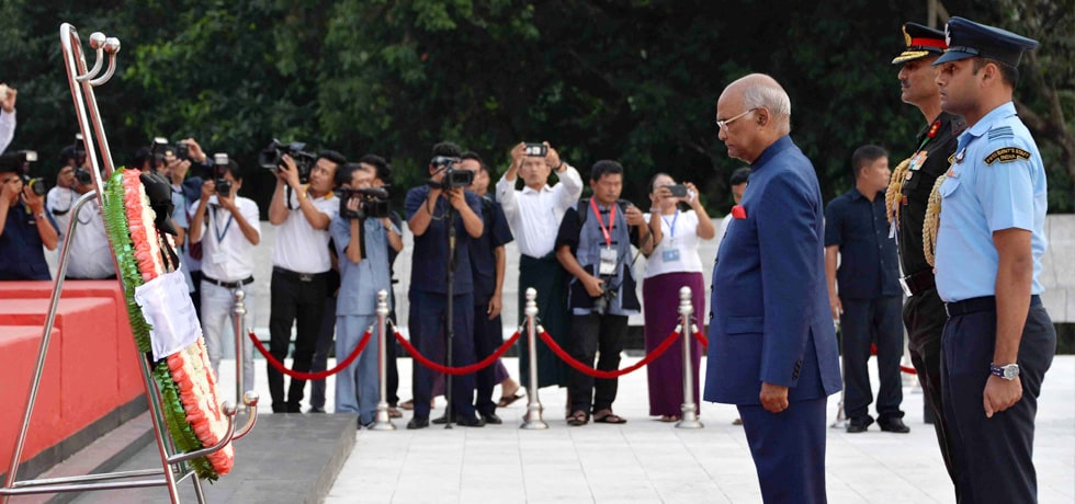 President lays wreath at the Martyrs' Mausoleum in Yangon during his visit to Myanmar