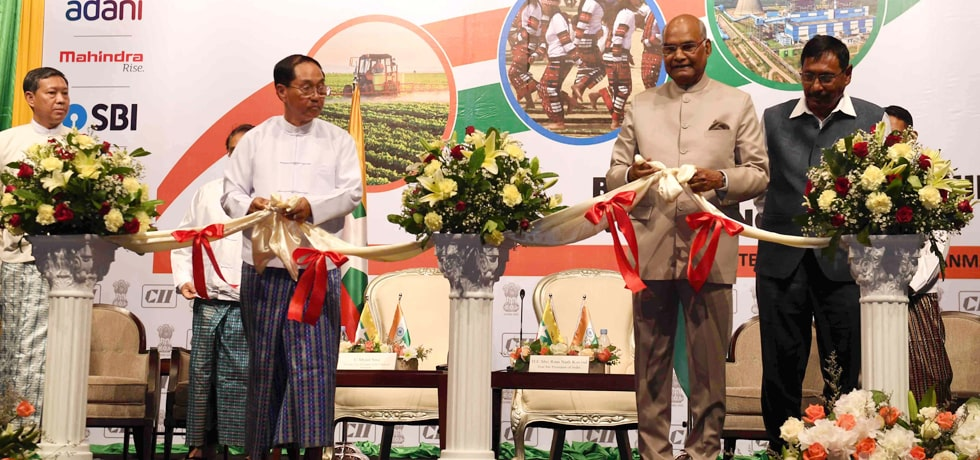 President inaugurates 5th Enterprise India Exhibition in Yangon during his visit to Myanmar
