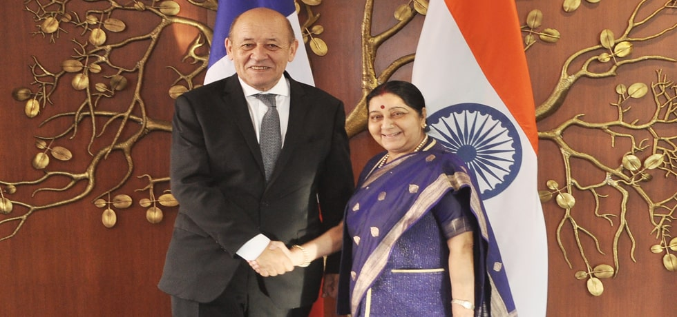 External Affairs Minister meets Jean-Yves Le Drian, French Minister of Europe and Foreign Affairs in New Delhi