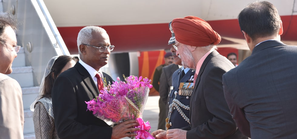 Ibrahim Mohamed Solih, President of the Republic of Maldives arrives in New Delhi on State visit