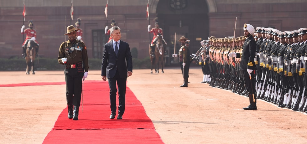 Mauricio Macri, President of the Argentine Republic inspects Guard of Honour during Ceremonial Welcome at Rashtrapati Bhawan in New Delhi
