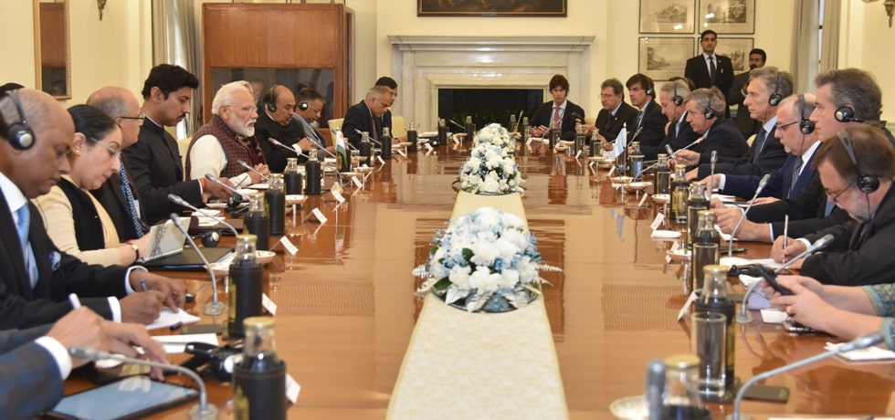 Prime Minister and Mauricio Macri, President of Argentina hold delegation level talk in Hyderabad House, New Delhi