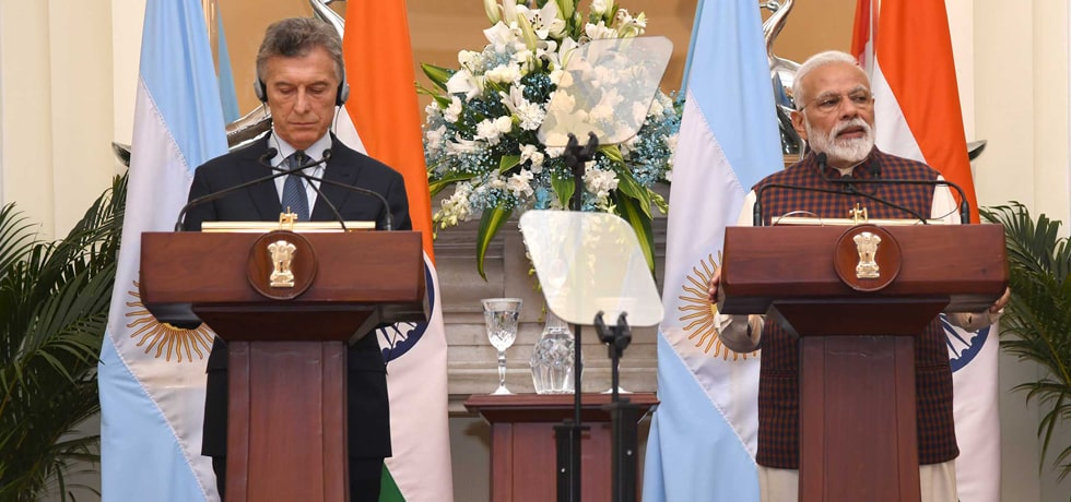 Prime Minister delivers Press Statement during State visit of President of Argentina to India in Hyderabad House, New Delhi