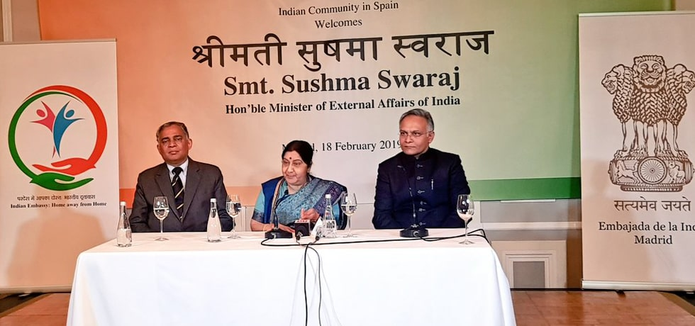 External Affairs Minister addresses Indian Community in Madrid, Spain