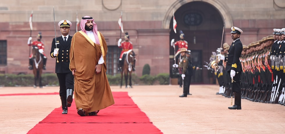 Mohammed bin Salman, Crown Prince of Saudi Arabia inspects Guard of Honour during Ceremonial Reception at Rashtrapati Bhawan in New Delhi