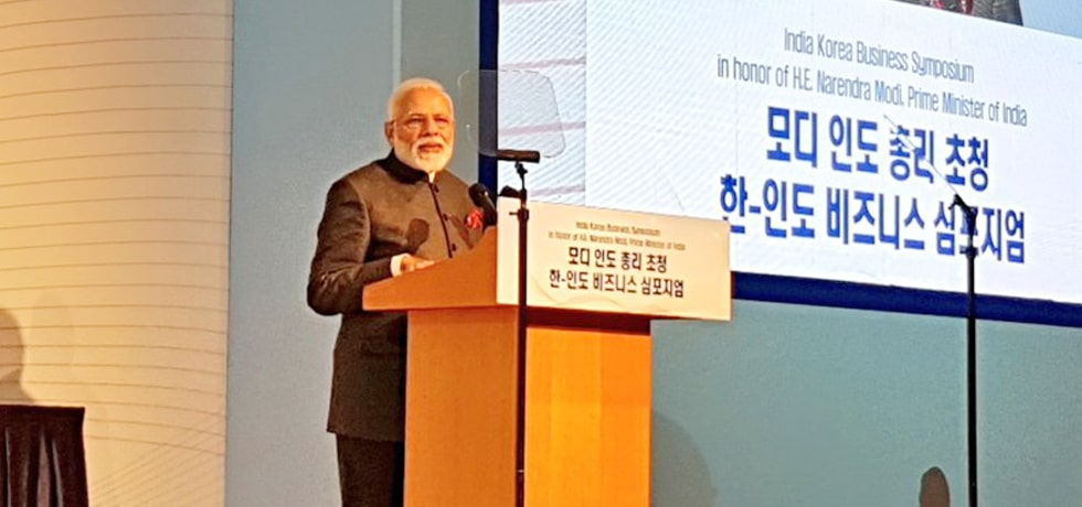 Prime Minister addresses the India-Korea Business Symposium in Seoul during his 2-day State Visit to Republic of Korea