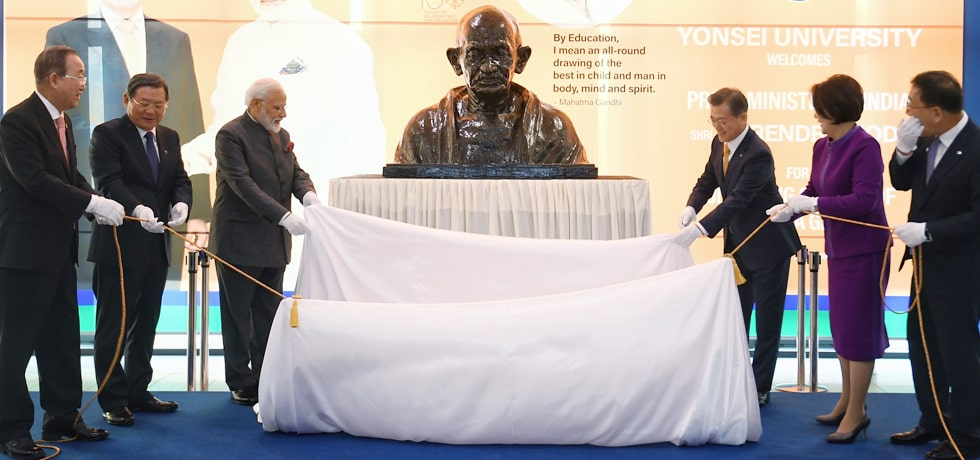 Prime Minister and Moon Jae-in, President of the Republic of Korea unveil the Bust of Mahatma Gandhi in Seoul