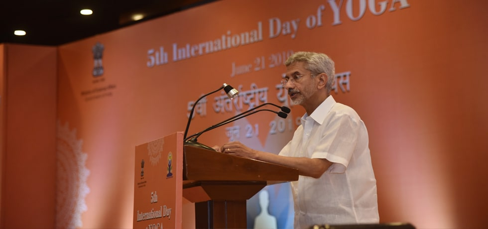 External Affairs Minister delivers his address during the International Day of Yoga 2019 celebrations in Pravasi Bharatiya Kendra, New Delhi