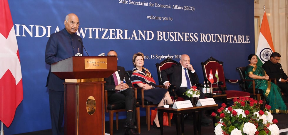 President delivers his address at India - Switzerland Business Roundtable in Berne