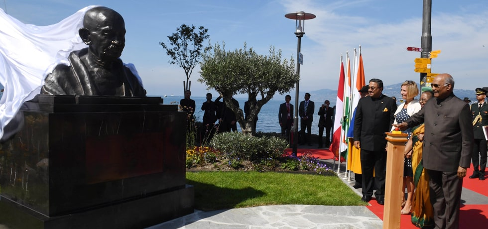 President unveils the bust of Mahatma Gandhi at Villeneuve, Switzerland