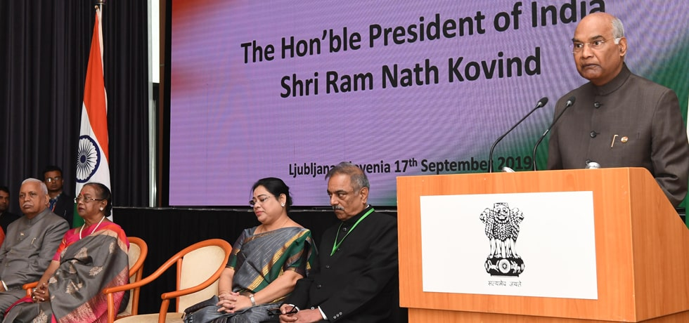 President addresses Indian Community in Ljubljana, Slovenia