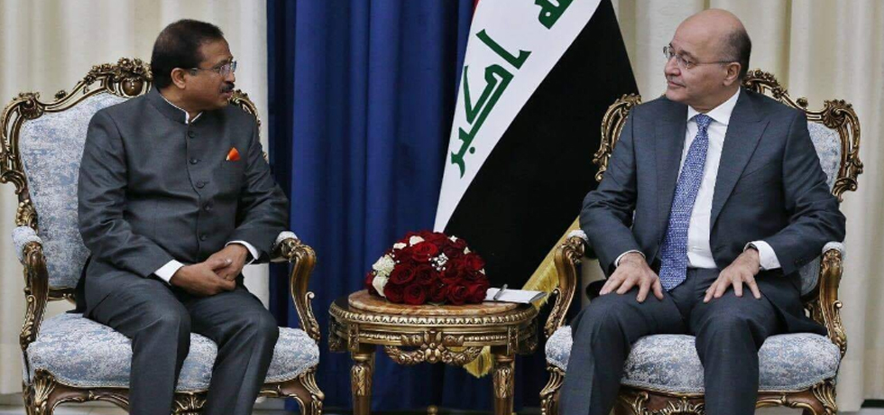 Minister of State for External Affairs calls on Barham Salih, President of Iraq in Iraq