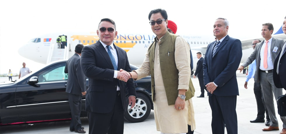 Khaltmaagiin Battulga, President of Mongolia arrives in New Delhi