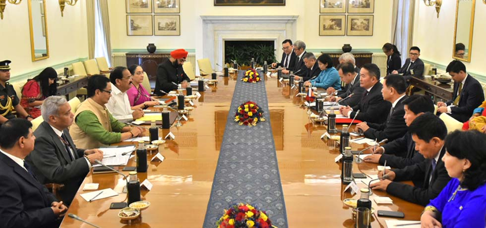 Vice President and Khaltmaagiin Battulga, President of Mongolia hold delegation level talks at Hyderabad House, New Delhi