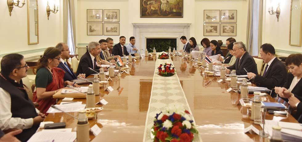 External Affairs Minister and Don Pramudwinai , Minister of Foreign Affairs of Thailand hold 8th Joint Commission Meeting at Hyderabad House in New Delhi