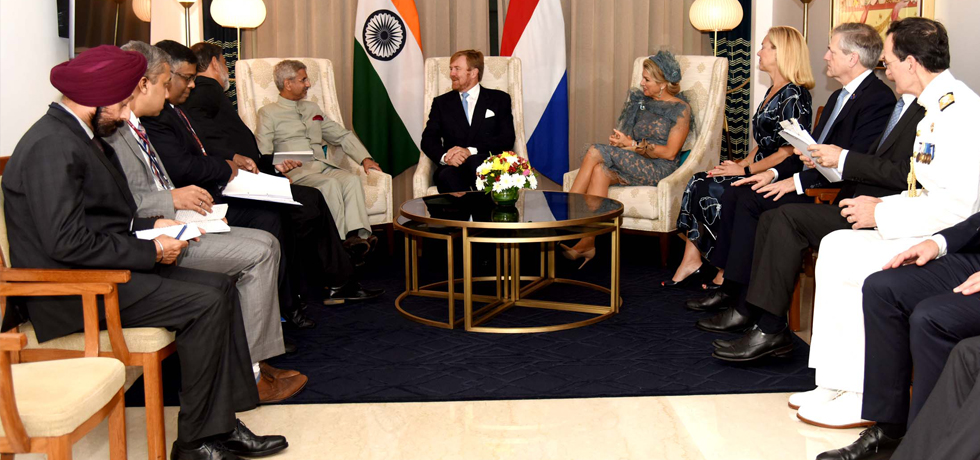 External Affairs Minister meets King Willem-Alexander and Queen Maxima of the Netherlands in New Delhi