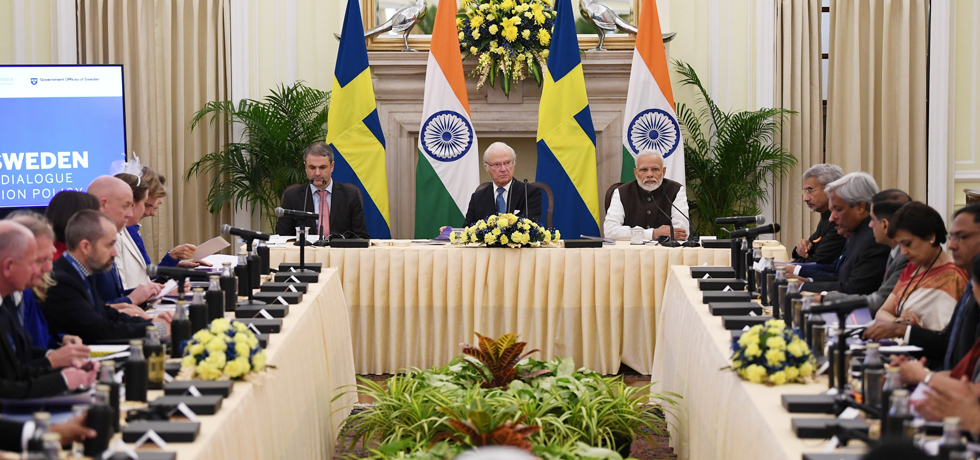Prime Minister and Carl XVI Gustaf, King of Sweden hold India-Sweden High Level Dialogue on Innovation Policy at Hyderabad House, New Delhi[ph]Photo Courtesy:Lalit Kumar[/ph]