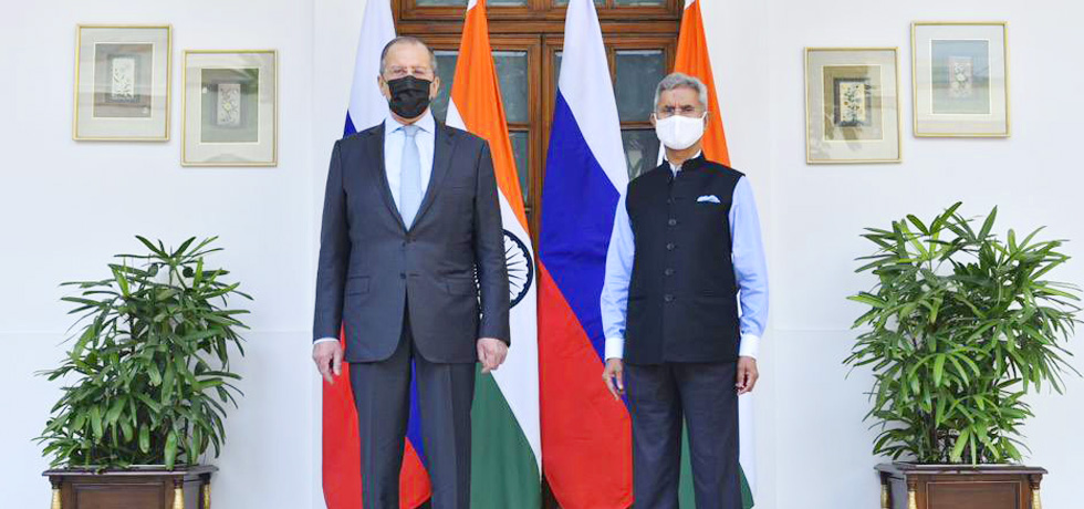 External Affairs Minister welcomes Sergey V. Lavrov, Minister of Foreign Affairs of the Russian Federation in New Delhi